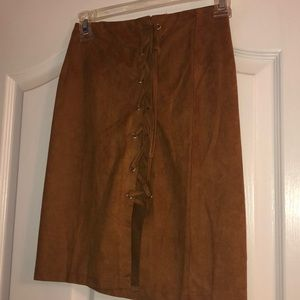 Brown Suede Skirt With Tie